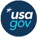 Round logo of USA.gov website